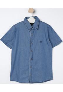 Camisa Jeans Com Bordado- Azul & Azul Marinho- Bilitbiliton