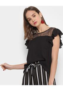 Blusa Chic Up Off Shouder Tule Feminina - Feminino-Preto