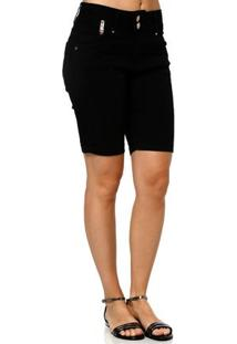 Bermuda Jeans Feminina Preto