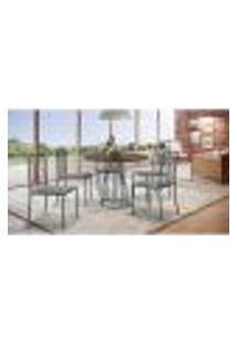 Conjunto De Mesa De Jantar Marrocos Com Tampo Mocaccino E 5 Cadeiras Atos Linho Cinza E Grafite