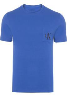 Camiseta Masculina Bolso Logo - Azul