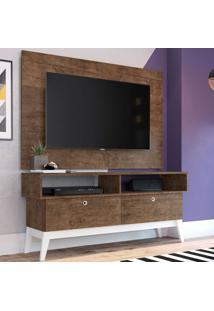 Rack Com Painel Para Tv Até 49 Polegadas Míconos Marrom E Branco 136 Cm