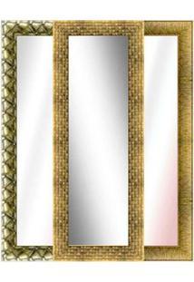 Espelho Emoldurado 61X162Cm Dourado Euroquadro