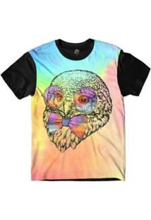 Camiseta Bsc Animais Hipster Coruja Perfil Masculina - Masculino-Rosa