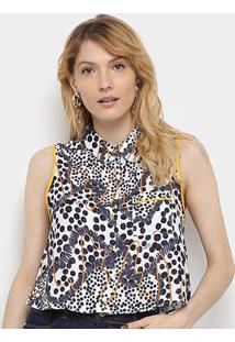 Camisa Regata Triton Gola Botões Poá Feminina - Feminino-Estampado