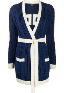 Elisabetta Franchi Cardigan De Tricô Com Cinto - Azul