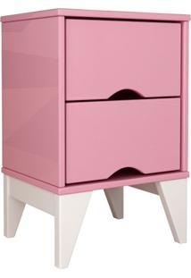 Mesa De Cabeceira 2 Gav. Twister Quartzo Rosa Tcil Móveis