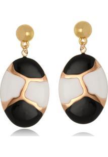 Brinco Le Diamond Chapa Oval Dourado - Dourado - Feminino - Dafiti