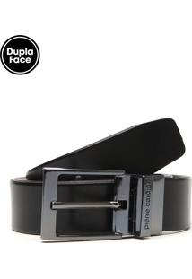 Cinto Pierre Cardin Dupla-Face Modern Preto/Marrom