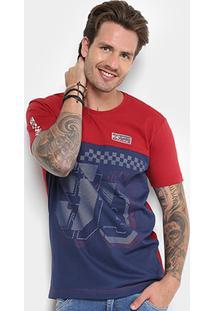 Camiseta Gangster Com Tela Manga Curta Masculina - Masculino-Vinho