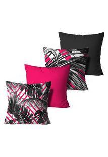 Kit 4 Capas Love Decor Para Almofadas Decorativas Abstrato Split Leaf Multicolorido Rosa