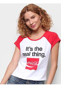 Camiseta Coca Cola Real Thing Feminina - Feminino-Branco