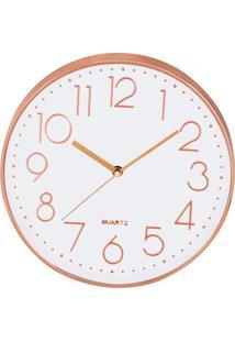 Relógio De Parede Vazé Branco E Rosé Gold