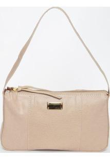 Bolsa Em Couro Texturizado Com Recortes- Bege- 15X25Di Marlys