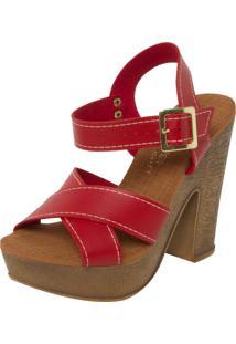 Sandália Mary Pepper Pespontos Vermelha