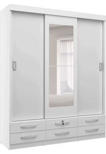 Guarda-Roupa Casal Com Espelho Dakota 3 Pt Branco