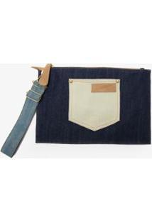 Carteira Pocket Clutch Amapô - Feminino-Jeans