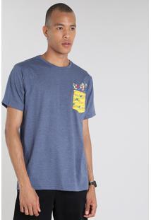 Camiseta Masculina Irmãos Metralha Com Bolso Manga Curta Gola Careca Azul Marinho