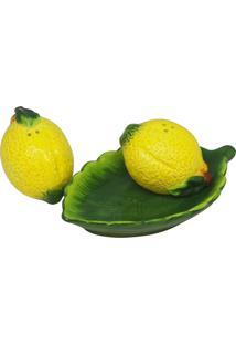 Conjunto 2 Peças Saleiro/Pimenteiro De Cerâmica C/Bandeja Midyat 16X9X7Cm - Linha Lemons