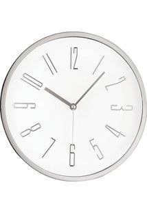 Relógio De Parede Branco E Prata Mart Collection