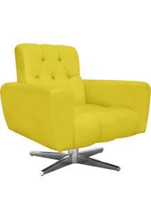 Poltrona Decorativa Pietra Suede Amarelo Com Base Estrela Giratória Em Aço Cromado - D'Rossi