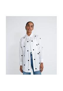 Camisa Alongada Com Bordado Poá | Blue Steel | Branco | P