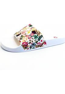 Chinelo Slide Qyuality Shoes 0013 Floral Sola Branca