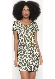 Vestido Animal Print Com Recortes - Preto & Amarelo Km2