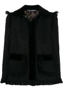 Dolce & Gabbana Jaqueta De Tweed Com Franjas - Preto