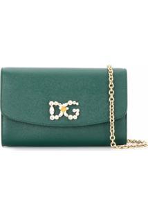 Dolce & Gabbana Bolsa Transversal Com Aplicação Cristais No Logo - Verde