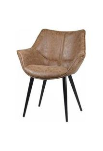 Cadeira Anne Corino Marrom Vintage Base Preta - 58281 Marrom