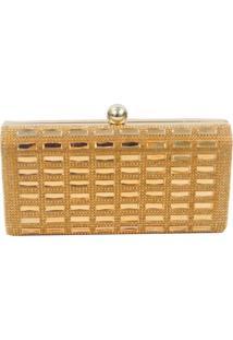 Bolsa Clutch Real Arte Pedraria Quadriculada Dourada