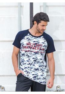 Camiseta Raglan Camuflada E Marinho