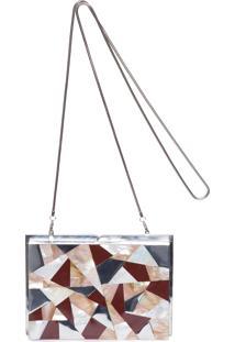 Bolsa Clutch Mosaico Em Madrepérola Metal - Prata