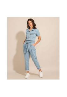 Macacão Jeans Com Bolsos E Faixa Para Amarrar Manga Bufante Azul Claro