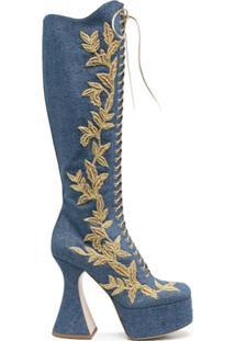 Moschino Bota Jeans Com Bordado De Folha - Azul