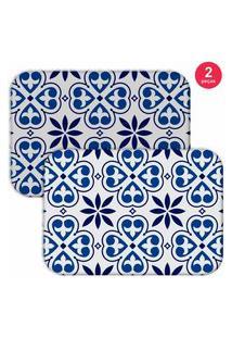 Jogo Americano Love Decor Premium Ladrilho Branco/Azul