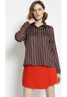 Camisa Listrada - Preta & Vermelhaangel