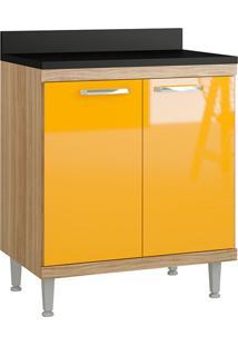 Balcão De Cozinha Sicília Para Cooktop 2 Portas Argila/Amarelo - Multimóveis
