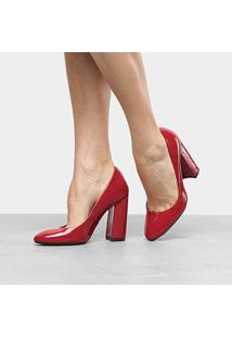 Scarpin Ala Salto Alto Verniz - Feminino-Vermelho