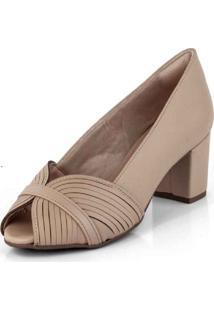 Sapato Peep Toe Tiras Em Circulo New Pele Bistrô Preto - Kanui