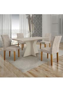 Conjunto De Mesa De Jantar Creta Iv Com 4 Cadeiras Olímpia Suede Off White E Cinza