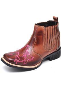 Botina Texana Click Calçados Cano Curto Bico Quadrado Bordado Rosa