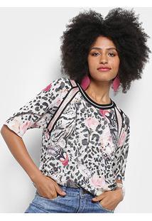 Blusa Carmim Animal Print Estampa Onça Floral Feminina - Feminino-Branco+Rosa