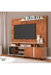 Estante Para Home Theater E Tv 50 Polegadas Valencia Savana E Off White 160 Cm
