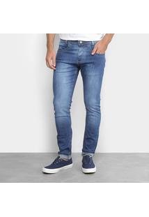 Calça Jeans Slim Zamany Elastano Estonada Lavagem Média Masculina - Masculino