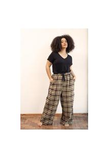 Calça Pantalona Flanelado Xadrez Plus Size Bege/Rosa-G