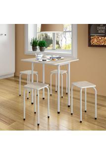 Conjunto De Mesa De Cozinha Dobrável Com 4 Lugares Asti Branco E Narita
