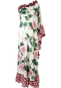 Dolce & Gabbana Vestido Longo Tropical Rose Com Estampa - Branco