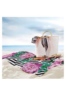 Toalha De Praia / Banho Floral Geométrico Único